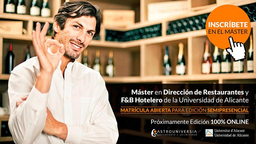 Inscripción abierta para el Máster en Dirección de Restaurantes y F&B Hotelero de la Universidad de Alicante