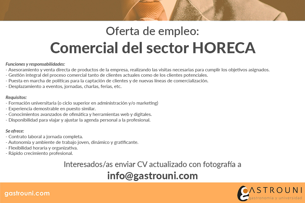 Oferta empleo - Comercial - Gastrouni