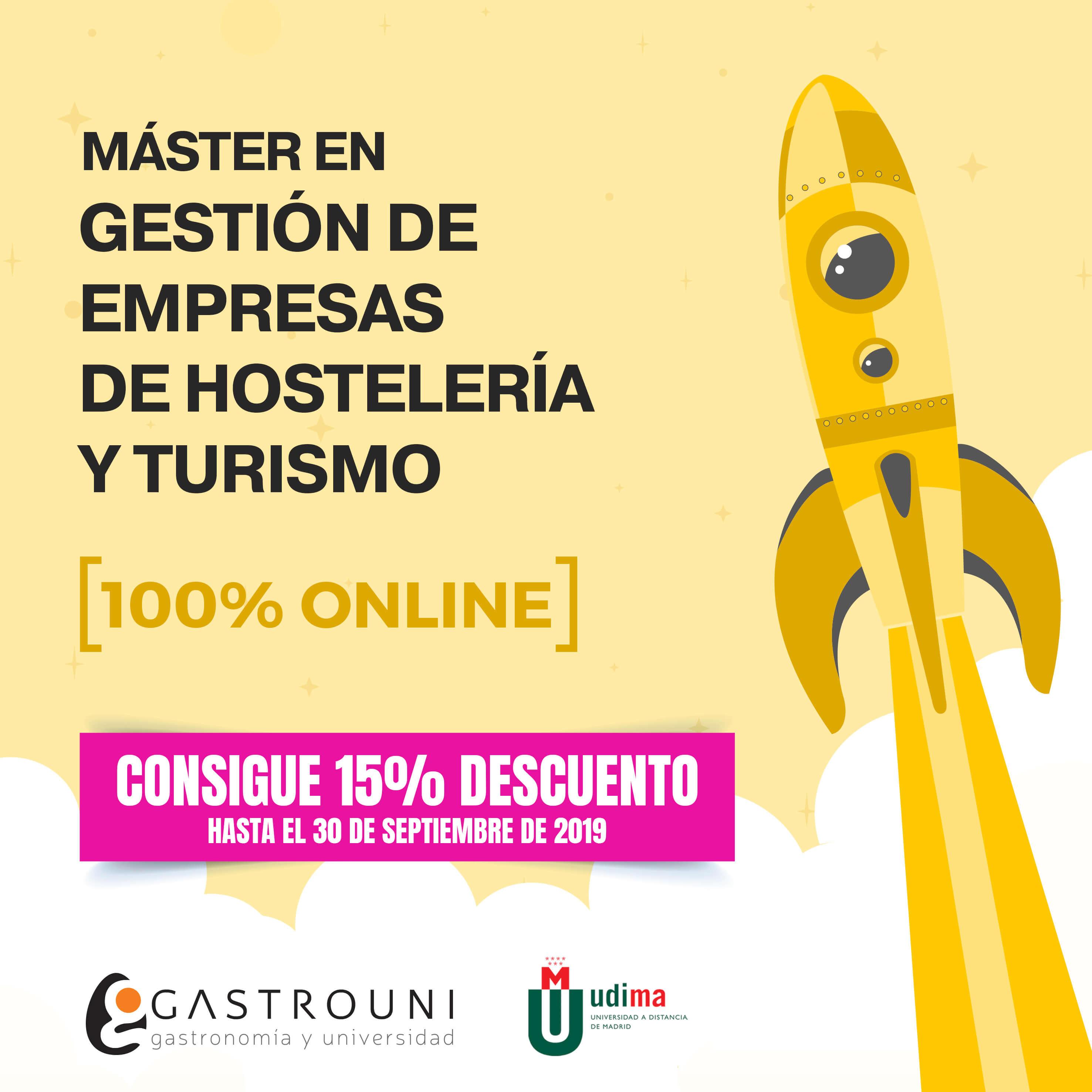 15% de descuento para el Máster en Gestión de Empresas de Hostelería y Turismo